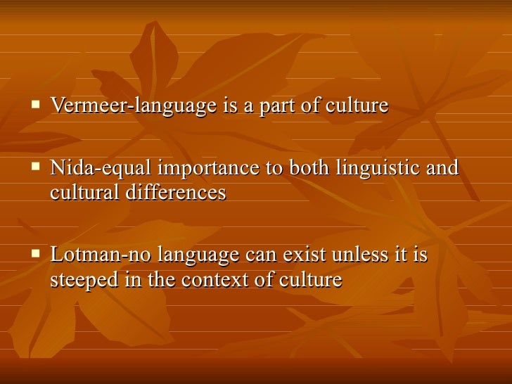 cultural elements in translation The two orientations in translation examined by nida, namely formal or dynamic equivalence, should also be considered when analysing the cultural implications for translation of elements in these categories.