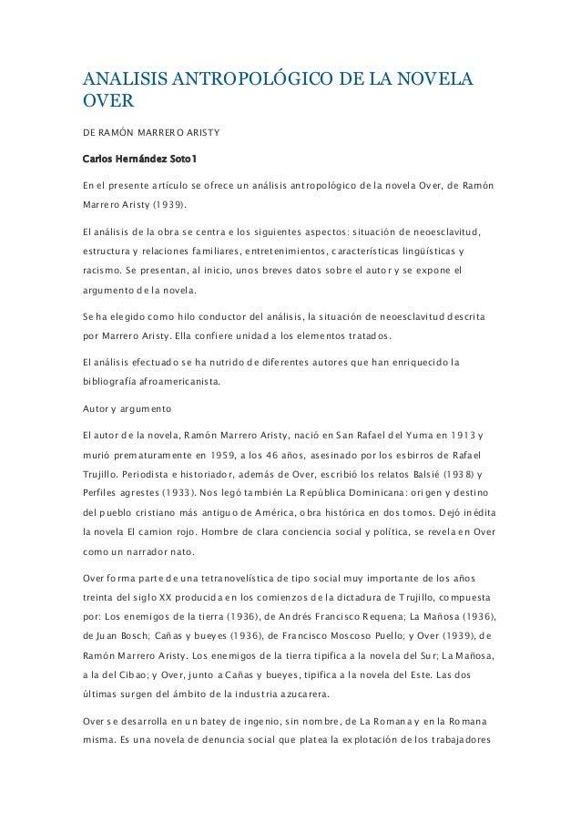 ANALISIS ANTROPOLÓGICO DE LA NOVELAOVERDE RAMÓN MARRERO ARISTYCarlos Hernández Soto1En el presente artículo se ofrece un a...