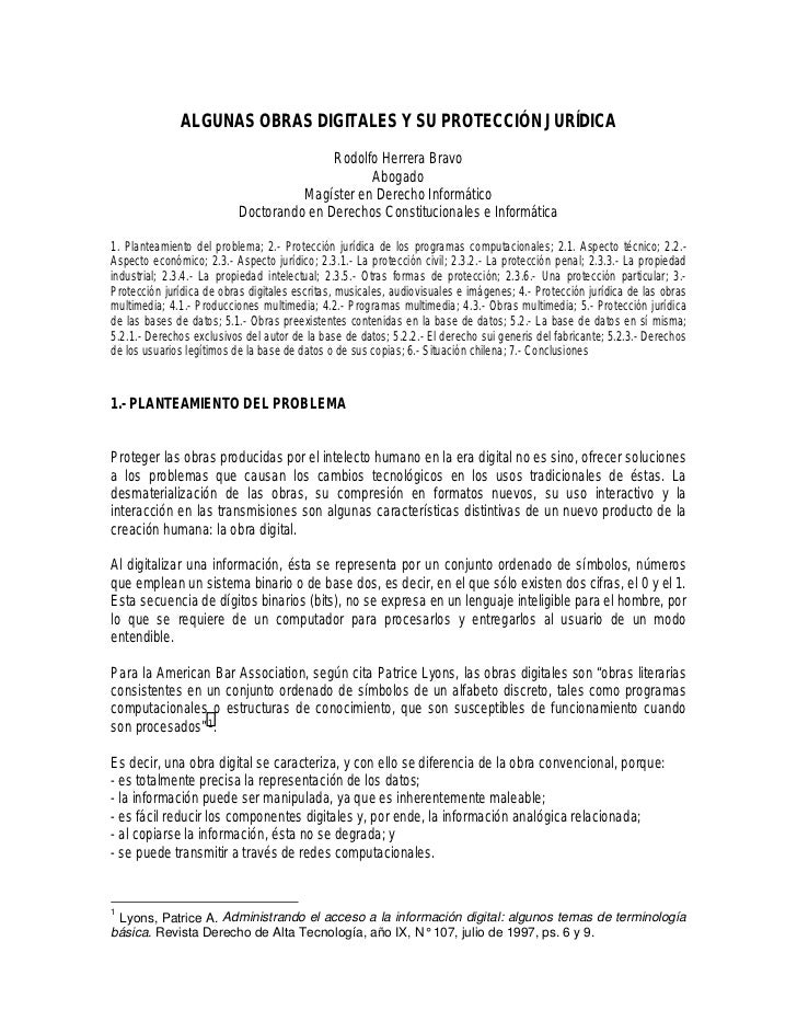 ALGUNAS OBRAS DIGITALES Y SU PROTECCIÓN JURÍDICA                                          Rodolfo Herrera Bravo           ...