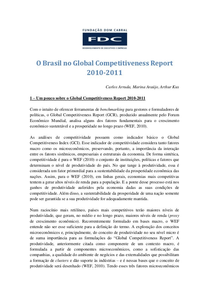 O Brasil no Global Competitiveness Report                   2010-2011                                            Carlos Ar...