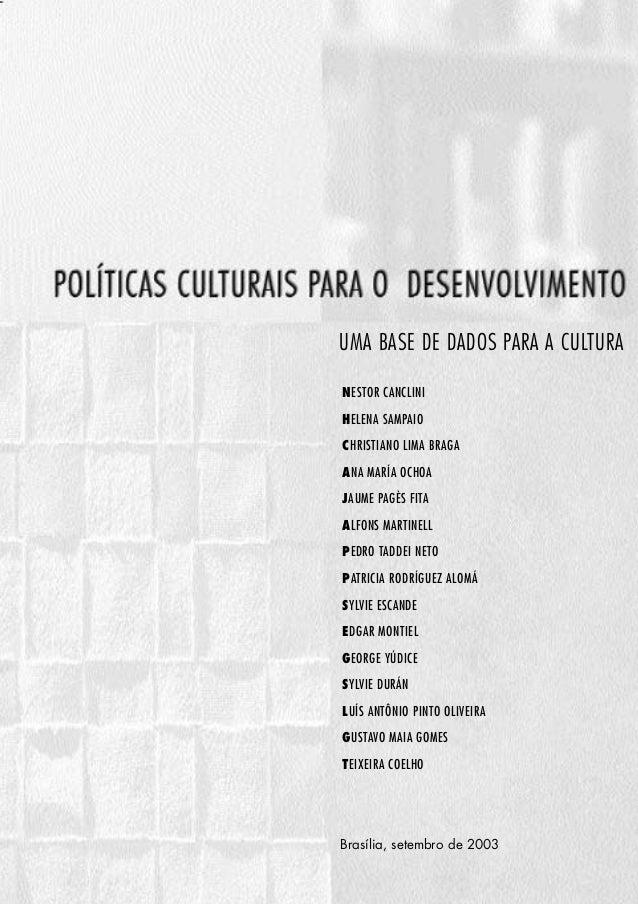 Miolo POLITICAS OK   10/7/03   11:04 AM   Page 1                                                   UMA BASE DE DADOS PARA ...