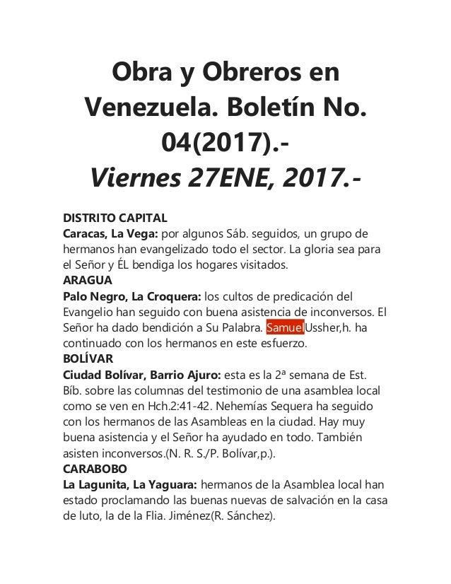 Obra y Obreros en Venezuela. Boletín No. 04(2017).- Viernes 27ENE, 2017.- DISTRITO CAPITAL Caracas, La Vega: por algunos S...