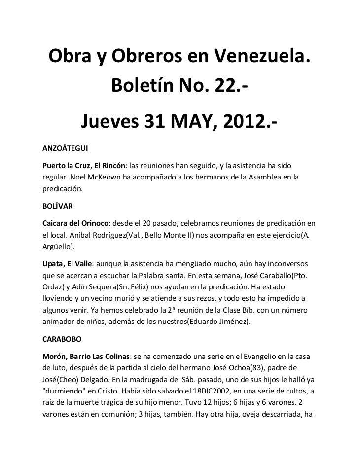 Obra y Obreros en Venezuela.        Boletín No. 22.-           Jueves 31 MAY, 2012.-ANZOÁTEGUIPuerto la Cruz, El Rincón: l...