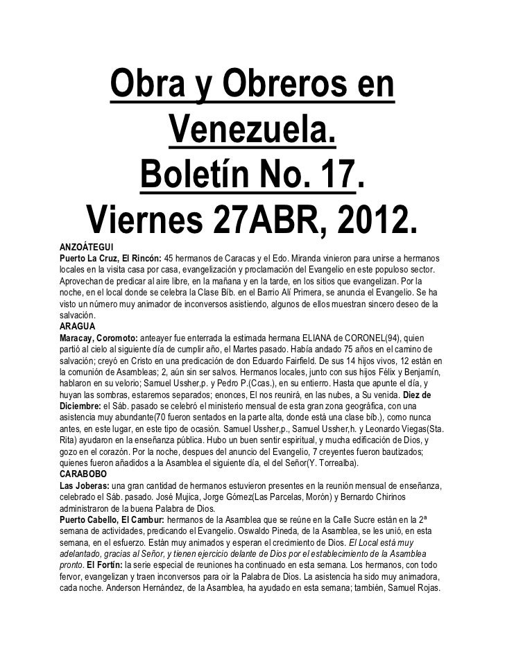 Obra y Obreros en            Venezuela.          Boletín No. 17.       Viernes 27ABR, 2012.ANZOÁTEGUIPuerto La Cruz, El Ri...