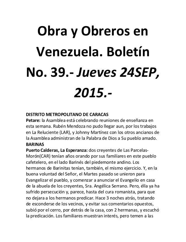 Obra y Obreros en Venezuela. Boletín No. 39.- Jueves 24SEP, 2015.- DISTRITO METROPOLITANO DE CARACAS Petare: la Asamblea e...