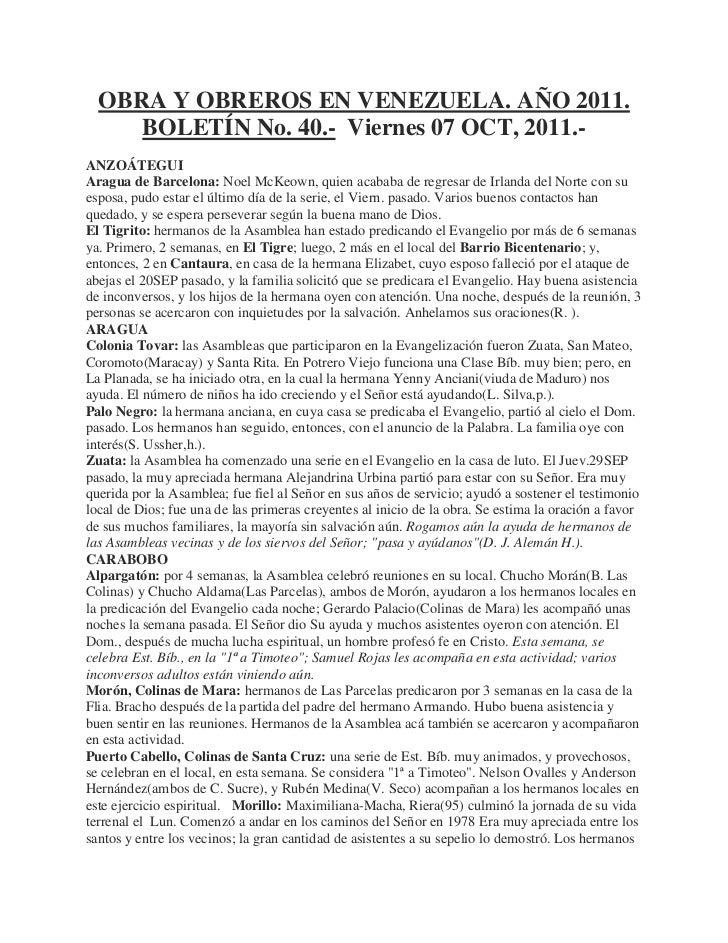 OBRA Y OBREROS EN VENEZUELA. AÑO 2011.     BOLETÍN No. 40.- Viernes 07 OCT, 2011.-ANZOÁTEGUIAragua de Barcelona: Noel McKe...