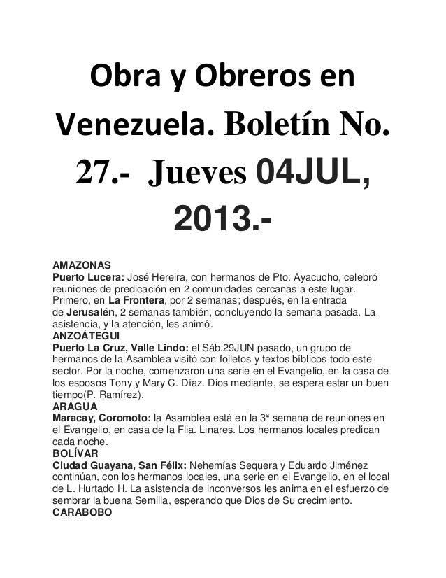 Obra y Obreros en Venezuela. Boletín No. 27.- Jueves 04JUL, 2013.- AMAZONAS Puerto Lucera: José Hereira, con hermanos de P...