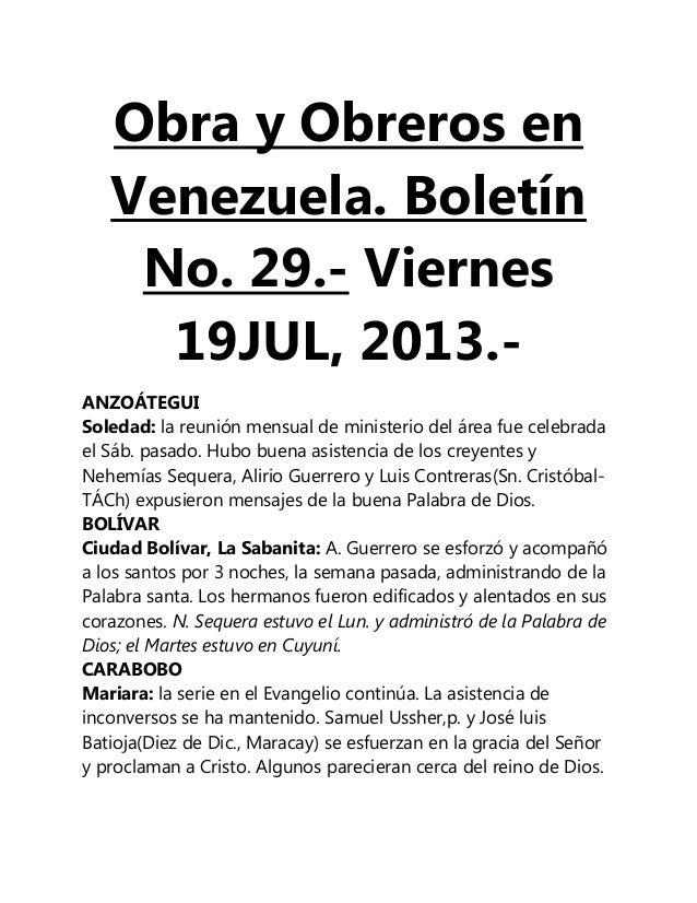 Obra y Obreros en Venezuela. Boletín No. 29.- Viernes 19JUL, 2013.- ANZOÁTEGUI Soledad: la reunión mensual de ministerio d...