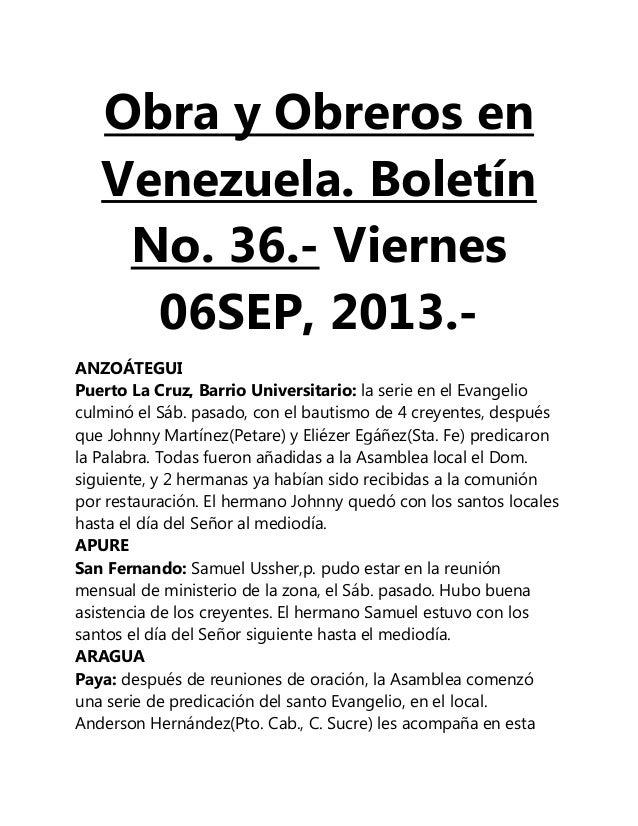 Obra y Obreros en Venezuela. Boletín No. 36.- Viernes 06SEP, 2013.- ANZOÁTEGUI Puerto La Cruz, Barrio Universitario: la se...