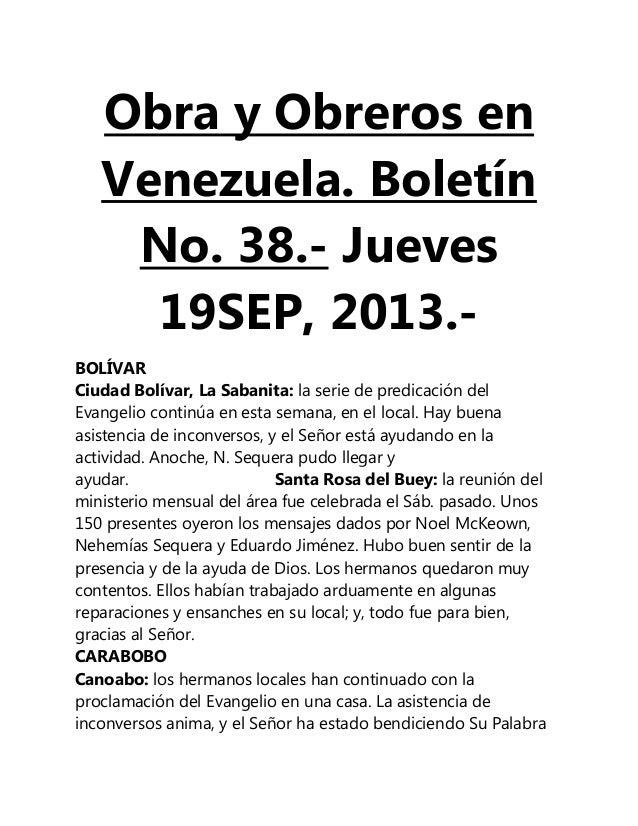 Obra y Obreros en Venezuela. Boletín No. 38.- Jueves 19SEP, 2013.- BOLÍVAR Ciudad Bolívar, La Sabanita: la serie de predic...
