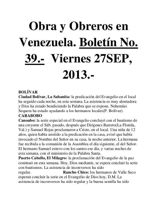 Obra y Obreros en Venezuela. Boletín No. 39.- Viernes 27SEP, 2013.- BOLÍVAR Ciudad Bolívar, La Sabanita: la predicación de...