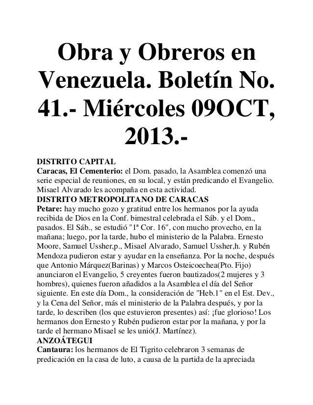 Obra y Obreros en Venezuela. Boletín No. 41.- Miércoles 09OCT, 2013.DISTRITO CAPITAL Caracas, El Cementerio: el Dom. pasad...