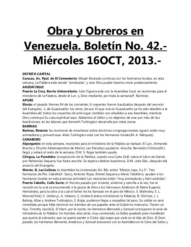 Obra y Obreros en Venezuela. Boletín No. 42.Miércoles 16OCT, 2013.DSTRITO CAPITAL Caracas, Av. Ppal. de El Cementerio: Mis...
