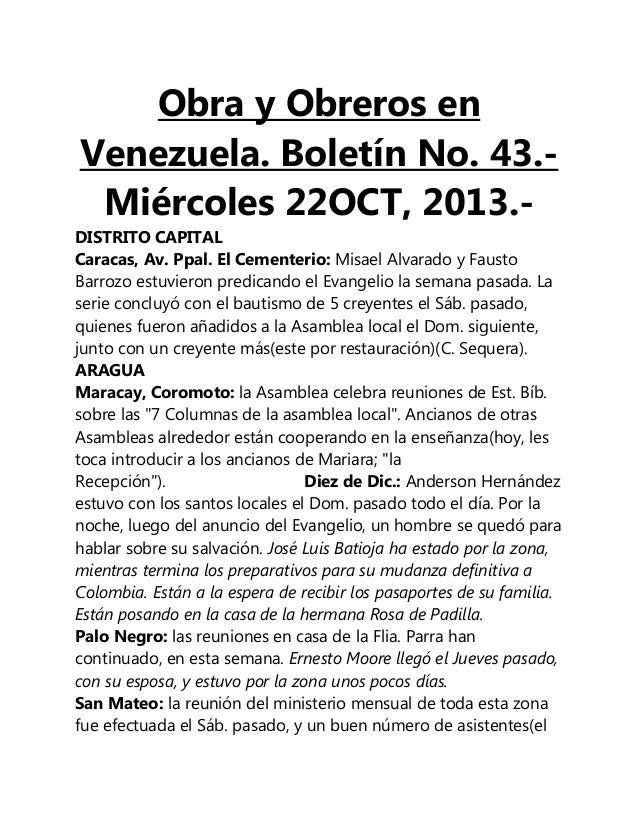 Obra y Obreros en Venezuela. Boletín No. 43.Miércoles 22OCT, 2013.DISTRITO CAPITAL Caracas, Av. Ppal. El Cementerio: Misae...
