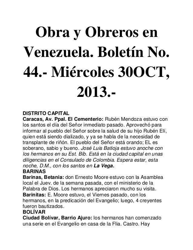 Obra y Obreros en Venezuela. Boletín No. 44.- Miércoles 30OCT, 2013.DISTRITO CAPITAL Caracas, Av. Ppal. El Cementerio: Rub...