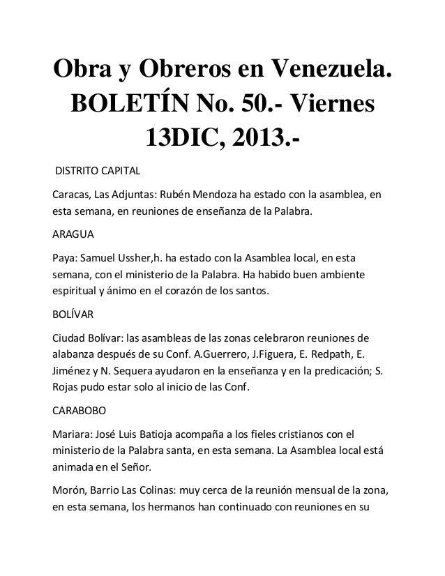 Obra y Obreros en Venezuela. BOLETÍN No. 50.- Viernes 13DIC, 2013.DISTRITO CAPITAL Caracas, Las Adjuntas: Rubén Mendoza ha...