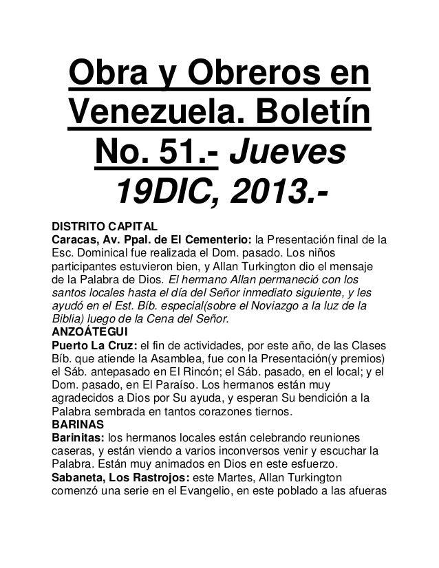 Obra y Obreros en Venezuela. Boletín No. 51.- Jueves 19DIC, 2013.DISTRITO CAPITAL Caracas, Av. Ppal. de El Cementerio: la ...