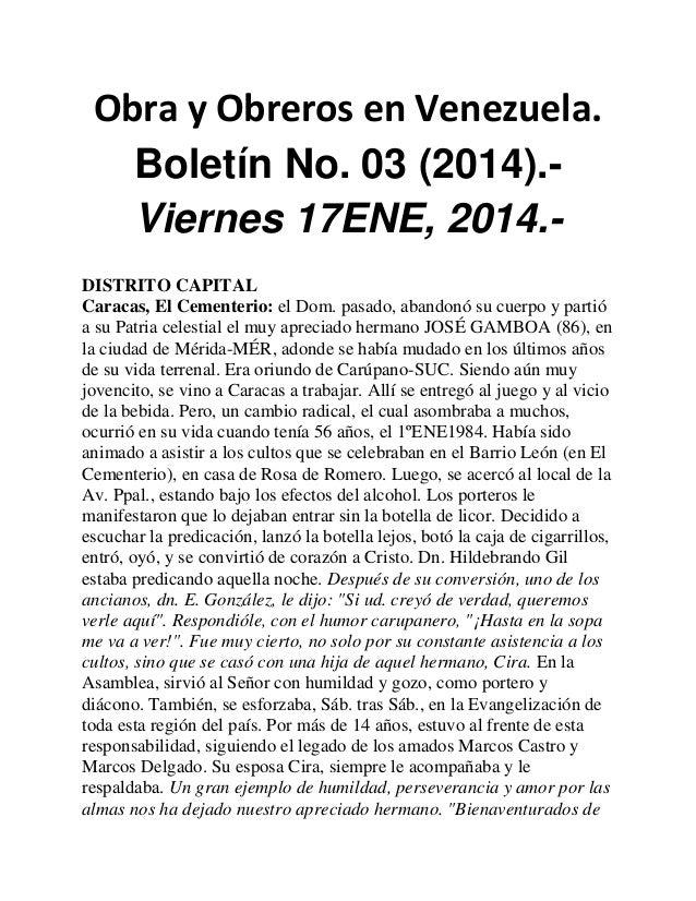 Obra y Obreros en Venezuela. Boletín No. 03 (2014).Viernes 17ENE, 2014.DISTRITO CAPITAL Caracas, El Cementerio: el Dom. pa...