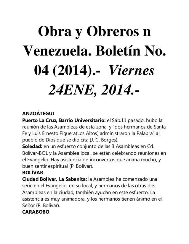 Obra y Obreros n Venezuela. Boletín No. 04 (2014).- Viernes 24ENE, 2014.ANZOÁTEGUI Puerto La Cruz, Barrio Universitario: e...