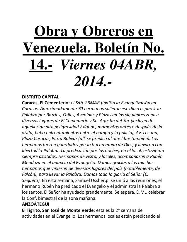 Obra y Obreros en Venezuela. Boletín No. 14.- Viernes 04ABR, 2014.- DISTRITO CAPITAL Caracas, El Cementerio: el Sáb. 29MAR...