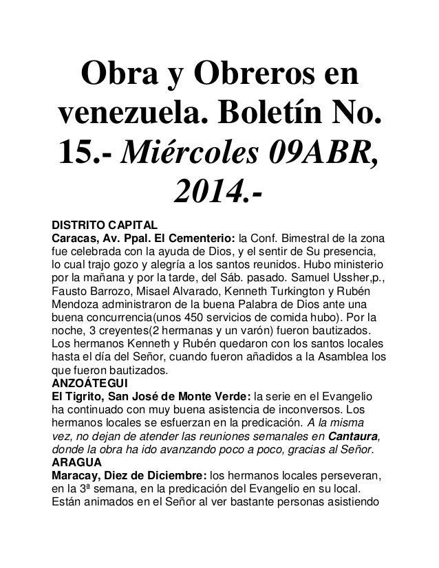 Obra y Obreros en venezuela. Boletín No. 15.- Miércoles 09ABR, 2014.- DISTRITO CAPITAL Caracas, Av. Ppal. El Cementerio: l...