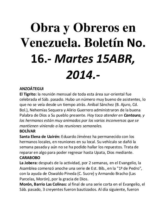 Obra y Obreros en Venezuela. Boletín No. 16.- Martes 15ABR, 2014.- ANZOÁTEGUI El Tigrito: la reunión mensual de toda esta ...