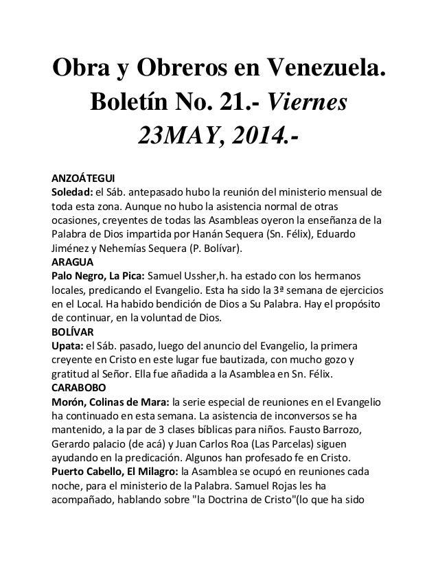 Obra y Obreros en Venezuela. Boletín No. 21.- Viernes 23MAY, 2014.- ANZOÁTEGUI Soledad: el Sáb. antepasado hubo la reunión...