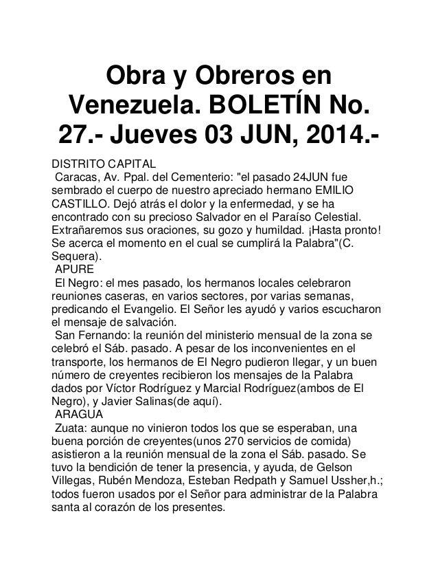 """Obra y Obreros en Venezuela. BOLETÍN No. 27.- Jueves 03 JUN, 2014.- DISTRITO CAPITAL Caracas, Av. Ppal. del Cementerio: """"e..."""