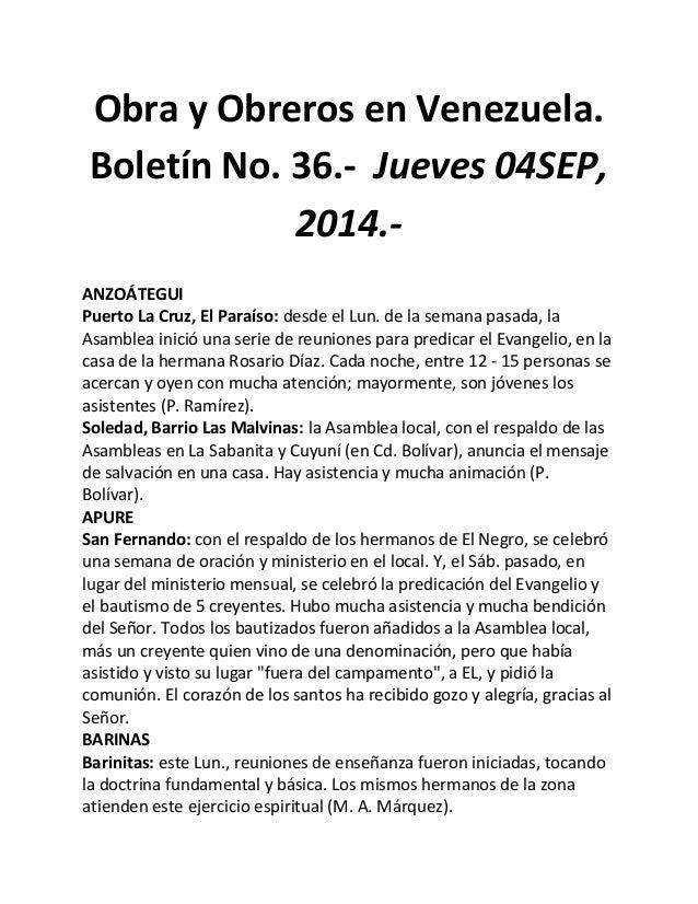 Obra y Obreros en Venezuela. Boletín No. 36.- Jueves 04SEP, 2014.-  ANZOÁTEGUI  Puerto La Cruz, El Paraíso: desde el Lun. ...