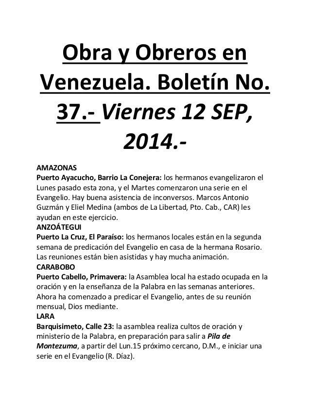 Obra y Obreros en Venezuela. Boletín No. 37.- Viernes 12 SEP, 2014.-  AMAZONAS  Puerto Ayacucho, Barrio La Conejera: los h...