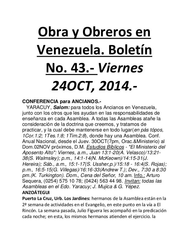 Obra y Obreros en Venezuela. Boletín No. 43.- Viernes 24OCT, 2014.-  CONFERENCIA para ANCIANOS.-  YARACUY, Salom: para tod...