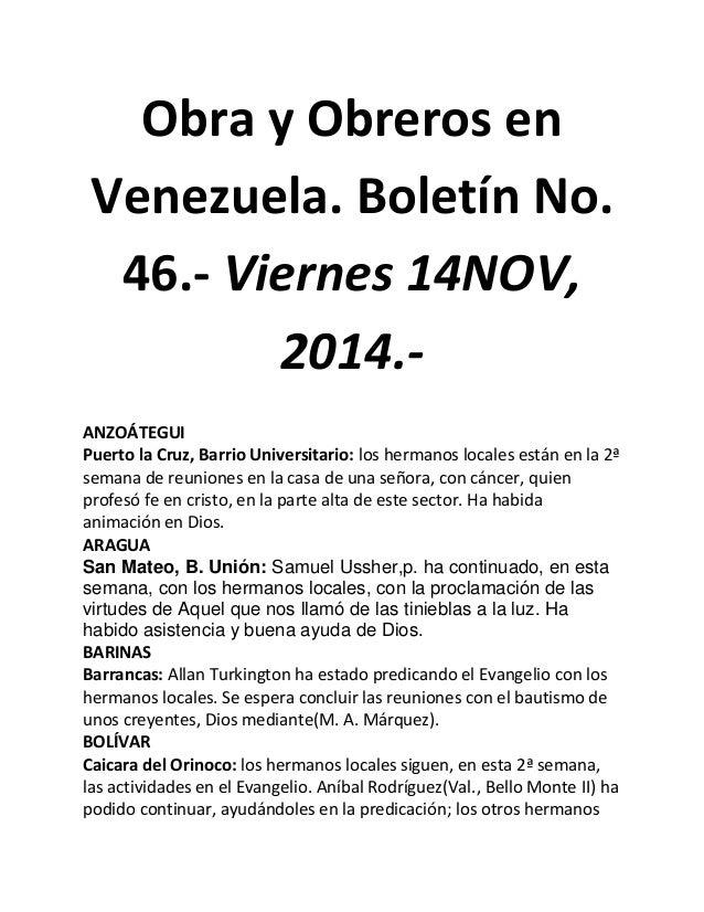 Obra y Obreros en Venezuela. Boletín No. 46.- Viernes 14NOV, 2014.-  ANZOÁTEGUI  Puerto la Cruz, Barrio Universitario: los...