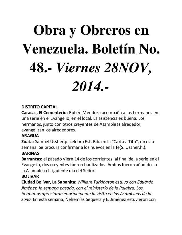 Obra y Obreros en Venezuela. Boletín No. 48.- Viernes 28NOV, 2014.-  DISTRITO CAPITAL  Caracas, El Cementerio: Rubén Mendo...