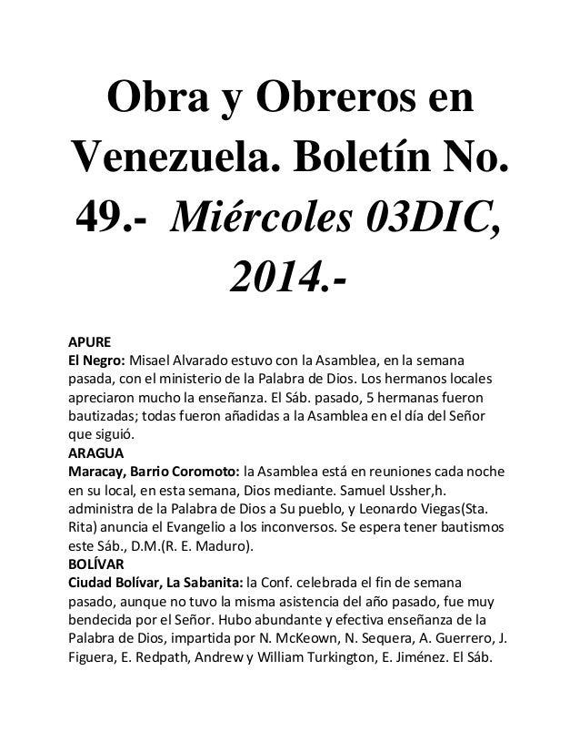 Obra y Obreros en Venezuela. Boletín No. 49.- Miércoles 03DIC, 2014.-  APURE  El Negro: Misael Alvarado estuvo con la Asam...