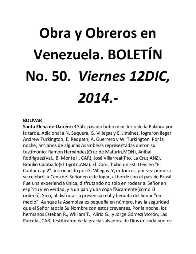 Obra y Obreros en Venezuela. BOLETÍN No. 50. Viernes 12DIC, 2014.- BOLÍVAR Santa Elena de Uairén: el Sáb. pasado hubo mini...