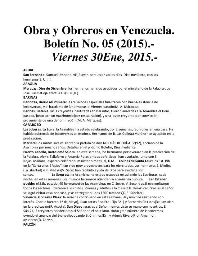 Obra y Obreros en Venezuela. Boletín No. 05 (2015).- Viernes 30Ene, 2015.- APURE San Fernando: Samuel Ussher,p. viajó ayer...