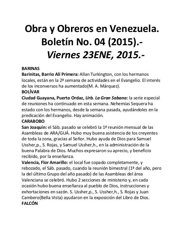 Obra y Obreros en Venezuela. Boletín No. 04 (2015).- Viernes 23ENE, 2015.- BARINAS Barinitas, Barrio Alí Primera: Allan Tu...