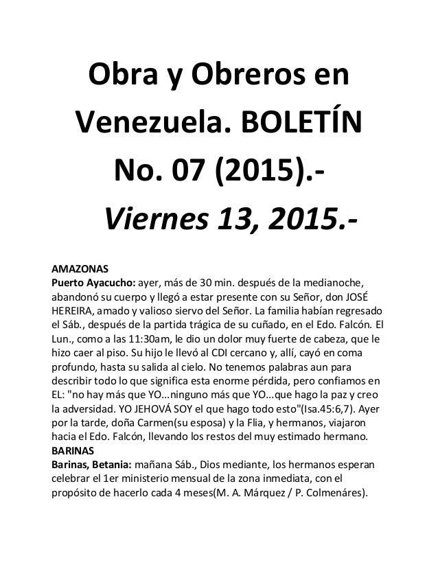Obra y Obreros en Venezuela. BOLETÍN No. 07 (2015).- Viernes 13, 2015.- AMAZONAS Puerto Ayacucho: ayer, más de 30 min. des...