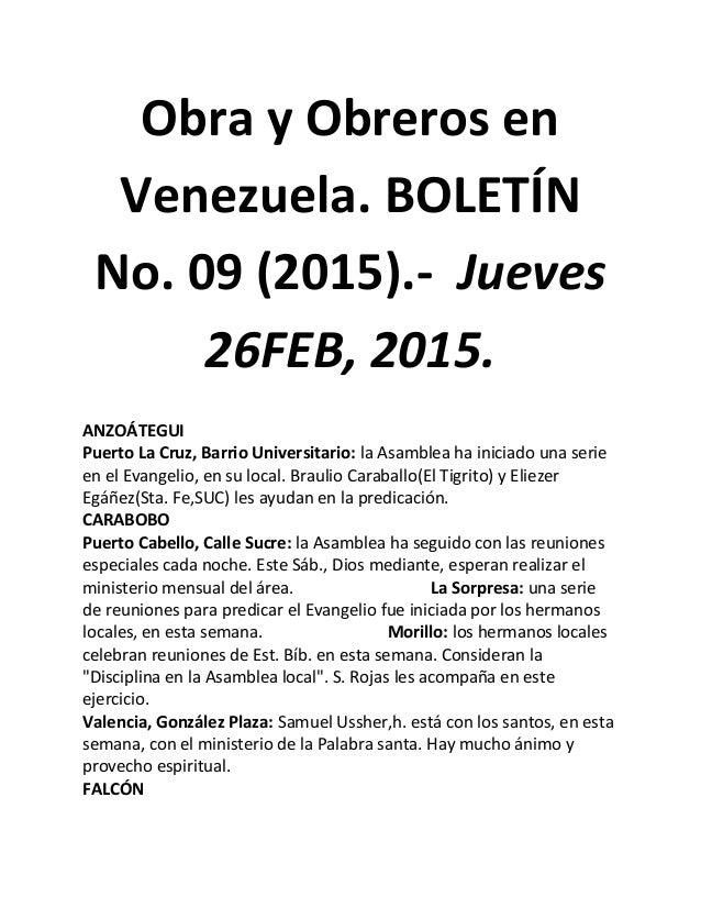Obra y Obreros en Venezuela. BOLETÍN No. 09 (2015).- Jueves 26FEB, 2015. ANZOÁTEGUI Puerto La Cruz, Barrio Universitario: ...