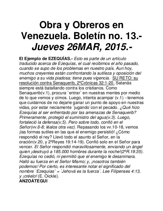 Obra y Obreros en Venezuela. Boletín no. 13.- Jueves 26MAR, 2015.- El Ejemplo de EZEQUÍAS.- Esto es parte de un artículo t...