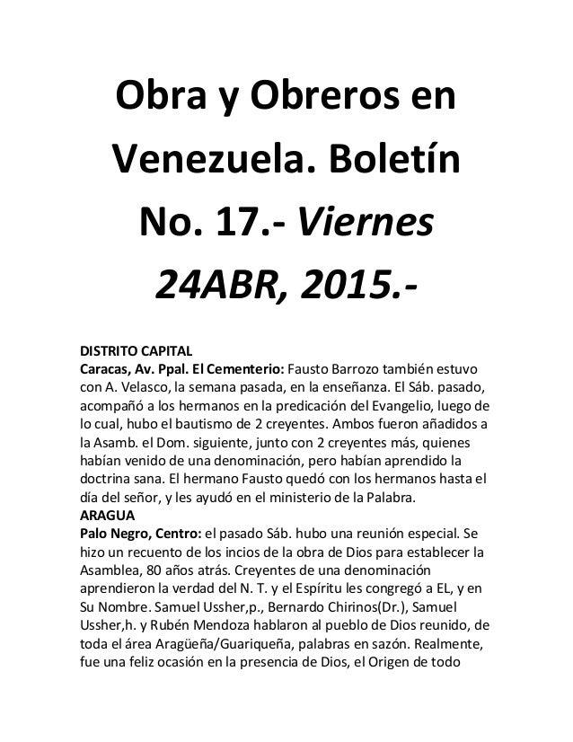 Obra y Obreros en Venezuela. Boletín No. 17.- Viernes 24ABR, 2015.- DISTRITO CAPITAL Caracas, Av. Ppal. El Cementerio: Fau...