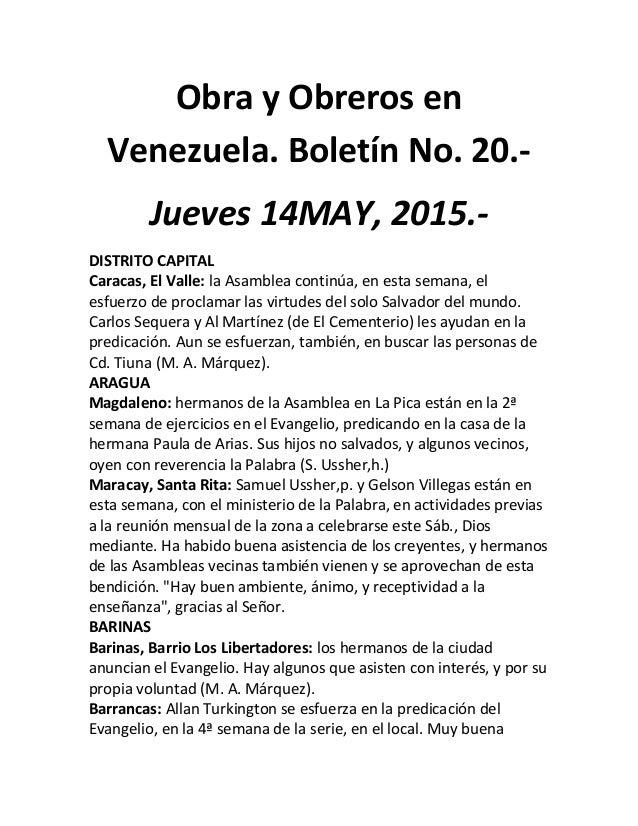 Obra y Obreros en Venezuela. Boletín No. 20.- Jueves 14MAY, 2015.- DISTRITO CAPITAL Caracas, El Valle: la Asamblea continú...