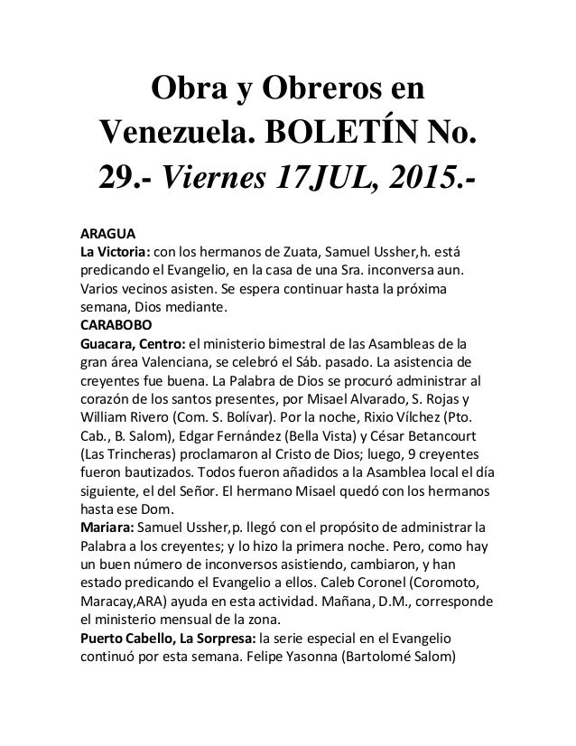 Obra y Obreros en Venezuela. BOLETÍN No. 29.- Viernes 17JUL, 2015.- ARAGUA La Victoria: con los hermanos de Zuata, Samuel ...