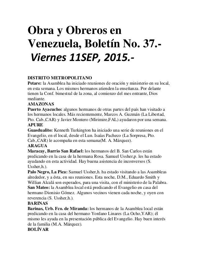 Obra y Obreros en Venezuela, Boletín No. 37.- Viernes 11SEP, 2015.- DISTRITO METROPOLITANO Petare: la Asamblea ha iniciado...