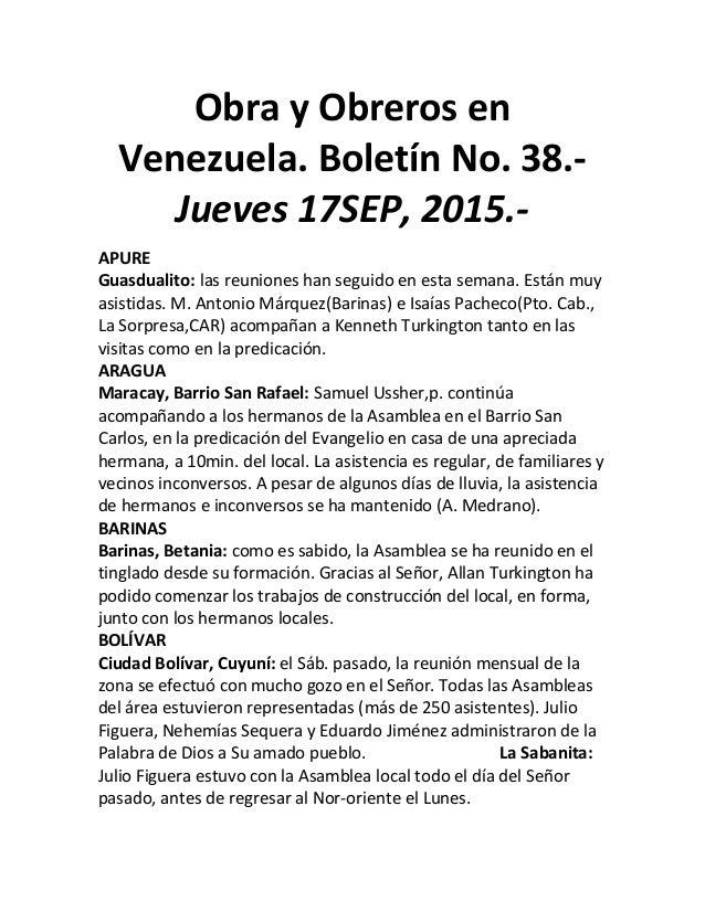 Obra y Obreros en Venezuela. Boletín No. 38.- Jueves 17SEP, 2015.- APURE Guasdualito: las reuniones han seguido en esta se...