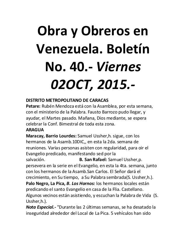 Obra y Obreros en Venezuela. Boletín No. 40.- Viernes 02OCT, 2015.- DISTRITO METROPOLITANO DE CARACAS Petare: Rubén Mendoz...