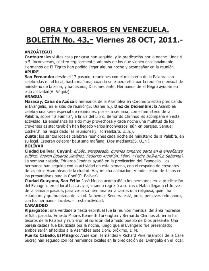 OBRA Y OBREROS EN VENEZUELA.BOLETÍN No. 43.- Viernes 28 OCT, 2011.-ANZOÁTEGUICantaura: las visitas casa por casa han segui...