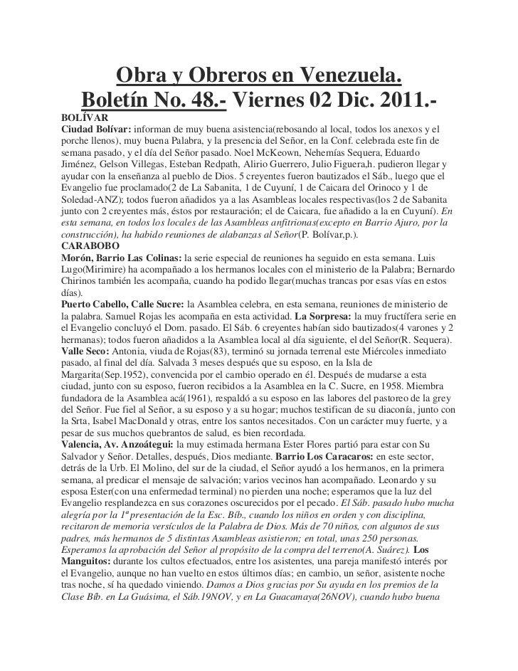 Obra y Obreros en Venezuela.     Boletín No. 48.- Viernes 02 Dic. 2011.-BOLÍVARCiudad Bolívar: informan de muy buena asist...