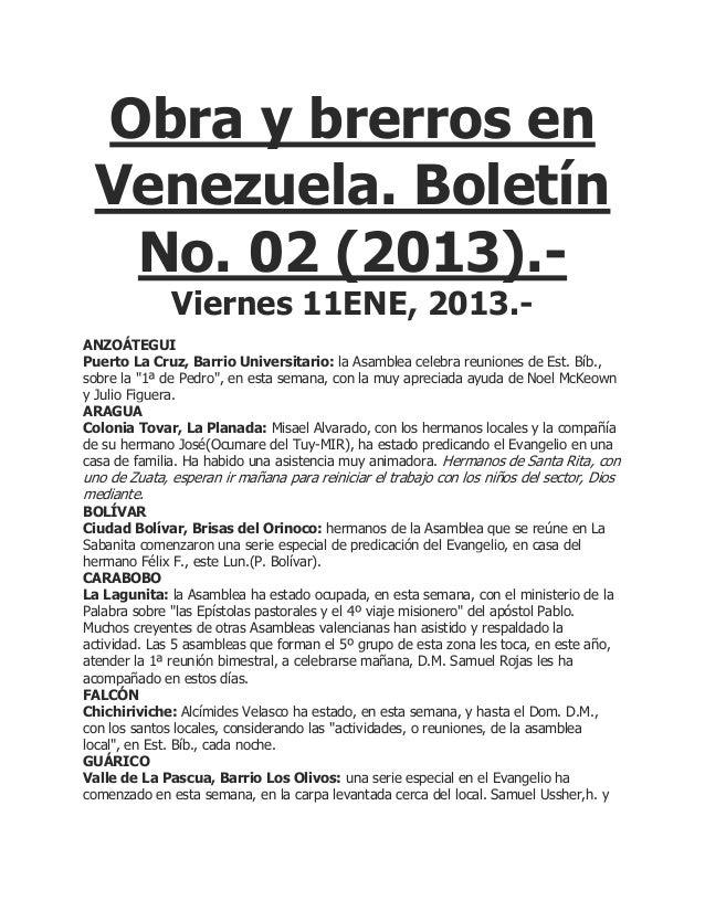 Obra y brerros en Venezuela. Boletín  No. 02 (2013).-              Viernes 11ENE, 2013.-ANZOÁTEGUIPuerto La Cruz, Barrio U...