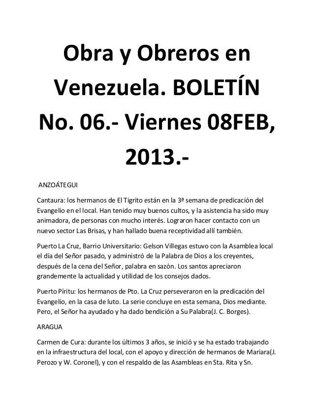 Obra y Obreros en Venezuela. BOLETÍNNo. 06.- Viernes 08FEB,         2013.-ANZOÁTEGUICantaura: los hermanos de El Tigrito e...